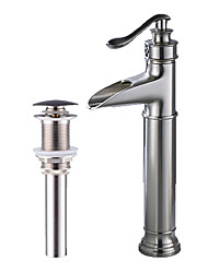 cheap -Faucet Set - Waterfall Brushed Centerset Single Handle One HoleBath Taps