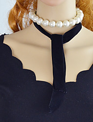cheap -Chain Necklace Ladies Imitation Pearl Flannel Toison Alloy Black 108 cm Necklace Jewelry For Party / Evening School