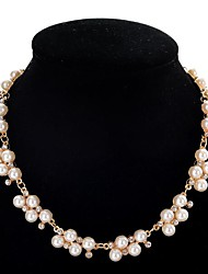 cheap -Women's Pearl Statement Necklace Pearl Strands Ladies Cute Pearl Imitation Diamond Alloy White 40+5 cm Necklace Jewelry For Party