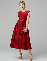 cheap -A-Line Elegant Cocktail Party Wedding Party Dress Illusion Neck Sleeveless Tea Length All Over Floral Lace with Pleats 2021