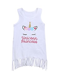 cheap -Toddler Girls' Active Daily / Holiday Solid Colored / Print Tassel / Print Sleeveless Cotton / Acrylic Dress White 2-3 Years(100cm) / Cute