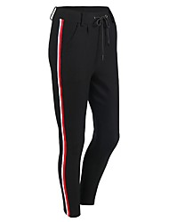 cheap -Women's Drawstring Yoga Pants Stripes Cotton Zumba Running Fitness Pants / Trousers Bottoms Activewear Breathable Quick Dry Micro-elastic