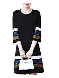 cheap -Women's Plus Size Black Dress Spring Daily A Line Color Block Black L XL