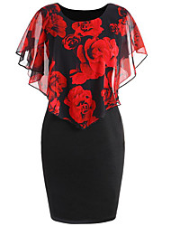 cheap -Women's Floral Plus Size Going out Elegant Bodycon Dress - Floral Flower Print Wrap Spring Blushing Pink Blue Red S M L XL