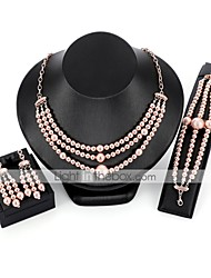 cheap -Jewelry Set Chain Bracelet Drop Earrings Geometrical Ladies Elegant Earrings Jewelry Pink For Wedding Evening Party / Chain Necklace