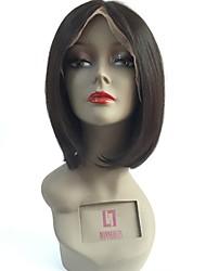cheap -Virgin Human Hair Lace Front Wig Bob Layered Haircut Kardashian style Brazilian Hair Straight Black White Wig 130% Density with Baby Hair Natural Hairline Women's Short 8-14 Human Hair Lace Wig Aili