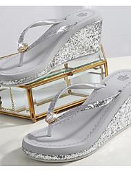cheap -Women's Slippers & Flip-Flops Wedge Heel PU(Polyurethane) Comfort Summer Black / Silver / Pink