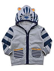 abordables -Bébé Garçon Actif Quotidien Sortie Couleur Pleine Rayé Imprimé Manches Longues Normal Coton Costume & Blazer Gris / Mignon
