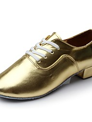 cheap -Men's Dance Shoes Patent Leather Latin Shoes Heel Thick Heel Customizable Gold / Performance / Practice