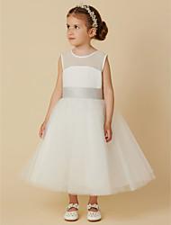 cheap -A-Line Tea Length Flower Girl Dress - Chiffon / Tulle Sleeveless Jewel Neck with Bow(s) / Sash / Ribbon / First Communion