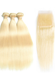 cheap -3 Bundles with Closure Peruvian Hair Straight Remy Human Hair Ombre Hair Weaves / Hair Bulk One Pack Solution Human Hair Extensions Golden Blonde Human Hair Weaves with Baby Hair Silky Natural / 10A