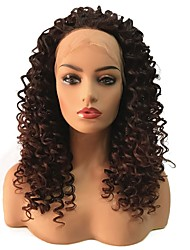 cheap -Synthetic Lace Front Wig Curly Middle Part Lace Front Wig Long Dark Brown / Dark Auburn Synthetic Hair Women's Heat Resistant African American Wig Brown StrongBeauty