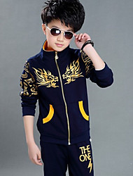 cheap -Kids Boys' Active Daily Print Print Long Sleeve Regular Regular Cotton Clothing Set Navy Blue