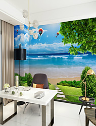 cheap -3D Blue Sky Seaside View Large Wall Covering Mural wallpaper fit bedroom restaurant landscape