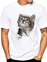 cheap -Men's Daily Street chic Plus Size T-shirt - 3D / Animal Cat, Print Round Neck Gray / Short Sleeve / Summer