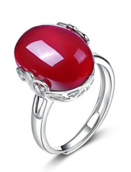 cheap -Women's Open Cuff Ring Engagement Ring Agate Red Sterling Silver Agate Asian Korean Fashion Wedding Daily Jewelry
