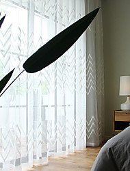 cheap -Sheer Curtains Shades Bedroom Stripe Cotton / Polyester Printed