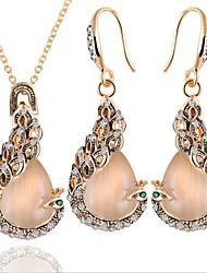 abordables -Femme Opale Nuptiales Parures Classique Paon Mode Elégant Strass Des boucles d'oreilles Bijoux Dorée Pour Soirée Anniversaire 1 set / Boucles d'Oreilles