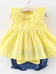 cheap -Baby Girls' Daily Striped Peplum Sleeveless Regular Regular Clothing Set Yellow / Cute / Toddler