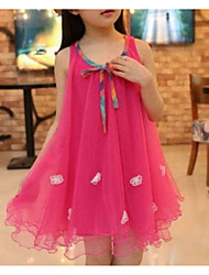 cheap -Toddler Girls' Street chic Holiday Going out Solid Colored Jacquard Flower Layered Mesh Sleeveless Dress Fuchsia / Cute