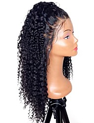 cheap -Human Hair Unprocessed Human Hair Lace Front Wig Middle Part Side Part style Brazilian Hair Curly Natural Wig 130% Density with Baby Hair Natural Hairline For Black Women 100% Hand Tied Bleached Knots