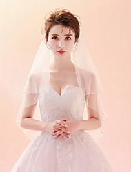 cheap -Two-tier Pearl Trim Edge / Veil Wedding Veil Elbow Veils with Pattern Tulle / Classic