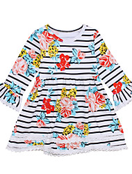 cheap -Toddler Girls' Vintage Daily / Holiday Striped / Floral / Print Lace / Print Sleeveless / Long Sleeve Cotton Dress White 2-3 Years(100cm) / Cute