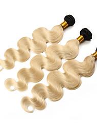 cheap -3 Bundles with Closure Peruvian Hair Wavy Remy Human Hair Ombre Hair Weaves / Hair Bulk One Pack Solution Human Hair Extensions Golden Blonde Human Hair Weaves with Baby Hair Silky Ombre Hair Human