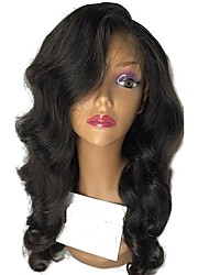 cheap -Human Hair Unprocessed Human Hair Lace Front Wig Middle Part Deep Parting Side Part style Brazilian Hair Wavy Natural Wig 130% Density with Baby Hair Natural Hairline For Black Women 100% Hand Tied