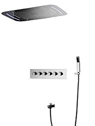cheap -Shower Faucet - Contemporary Chrome Wall Mounted Ceramic Valve Bath Shower Mixer Taps / Brass