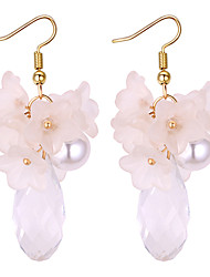 cheap -Drop Earrings Floral / Botanicals Drop Flower European Fashion Imitation Pearl Earrings Jewelry White / Silver / Gray For Party