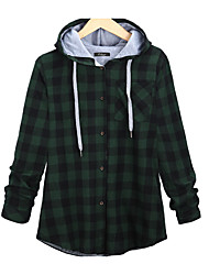 cheap -Women's Plus Size Basic Cotton Hoodie - Plaid Blue S / Fall / Winter