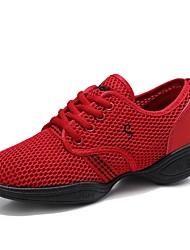 cheap -Women's Dance Shoes Tulle Dance Sneakers Sneaker Flat Heel Customizable Black / Fuchsia / Red / EU41