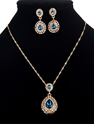 cheap -Women's Cubic Zirconia Jewelry Set Drop Ladies Sweet Crystal Zircon Earrings Jewelry Red / Blue For Party Masquerade