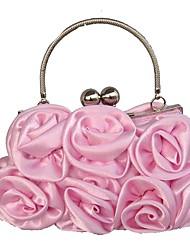 abordables -Femme Relief Soie Pochette A Fleur Rouge / Rose Claire / Café