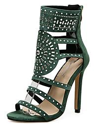 cheap -Women's Sandals Stiletto Heel Peep Toe Rivet Synthetics Sweet / British Fall / Spring & Summer Black / Light Green / Party & Evening