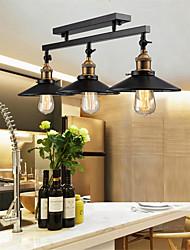 cheap -3-Light Vintage Loft Ceiling Lamp Flush Mount Light Direction Adjustable 3-Head Metal Mirror Glass Living Room Dining Room