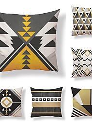 cheap -6 pcs Textile Cotton / Linen Pillow Cover, Geometric Special Design Novelty Classic Style High Quality