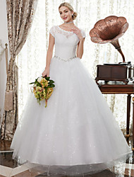 cheap -A-Line Scoop Neck Floor Length Satin / Lace Over Tulle Cap Sleeve Romantic Illusion Detail Wedding Dresses with Crystals / Appliques 2020