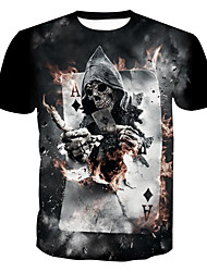 cheap -Men's Plus Size Graphic Skull Print T-shirt Skull Basic Daily Weekend Round Neck Black / Summer / Short Sleeve