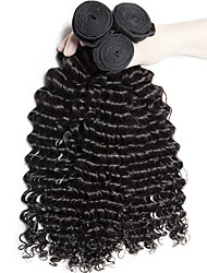 cheap -3 Bundles Brazilian Hair Curly Deep Wave Virgin Human Hair Unprocessed Human Hair Brands Outlet Black Natural Color Human Hair Weaves Extention Hot Sale For Black Women Human Hair Extensions / 10A
