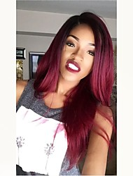 cheap -Unprocessed Human Hair Full Lace Wig Middle Part Rihanna style Brazilian Hair Straight Burgundy Wig 130% Density with Baby Hair Ombre Hair Dark Roots Women's Medium Length Human Hair Lace Wig Aili