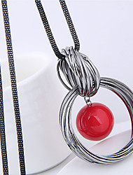 cheap -Women's Pendant Necklace Long Necklace Twisted Wire Wrap Fashion European Imitation Pearl Alloy Red White 70 cm Necklace Jewelry For Causal