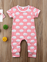 cheap -Baby Unisex Active / Basic Daily Print Fairytale Theme / Basic Short Sleeves Cotton Romper Blushing Pink / Toddler