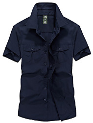 cheap -Men's Hiking Shirt / Button Down Shirts Short Sleeve Outdoor Breathable Moisture Wicking Quick Dry Multi Pocket Shirt Top Summer Nylon POLY Dark Navy Outdoor Exercise Multisport