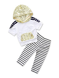 cheap -Toddler Girls' Active Basic Daily Sports Black & White Striped Sequins Lace up Print Short Sleeve Regular Regular Cotton Clothing Set White