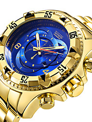 cheap -Men's Sport Watch Quartz Luxury Calendar / date / day Stainless Steel Black / Silver / Gold Analog - Blue / Black Gold / White Black / Silver / Large Dial