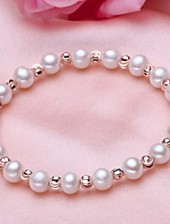 cheap -Women's Pearl Freshwater Pearl Bead Bracelet Simple Natural Fashion Stainless Steel Bracelet Jewelry White For Gift Daily / Silver Plated