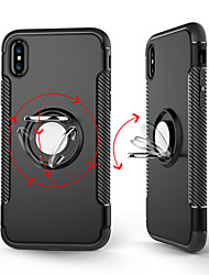 cheap -Case For Apple iPhone X / iPhone 8 Plus / iPhone 8 Ring Holder Back Cover Solid Colored Hard PC