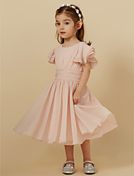 cheap -A-Line Tea Length Holiday Flower Girl Dresses - Chiffon Short Sleeve Scoop Neck with Sash / Ribbon